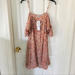 NWT patrons of peace Button Front Cold shoulder